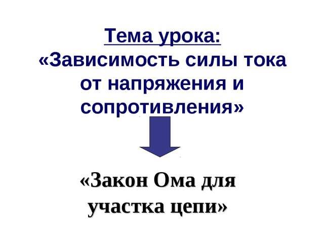 Тема урока: «Зависимость силы тока от напряжения и сопротивления» «Закон Ома...