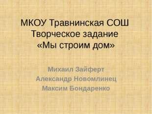 МКОУ Травнинская СОШ Творческое задание «Мы строим дом» Михаил Зайферт Алекса