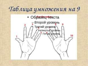Таблица умножения на 9 Снова поверните кисти ладонями к себе, но теперь нумер