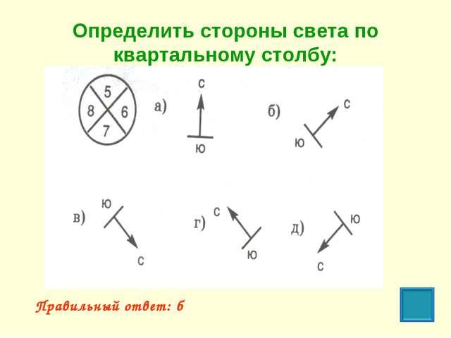 Определить стороны света по квартальному столбу: Правильный ответ: б