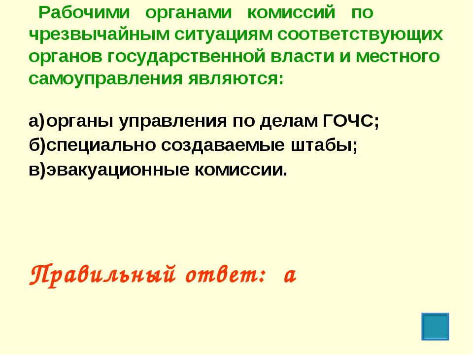 Рабочими органами комиссий по чрезвычайным ситуациям соответствующих органов...