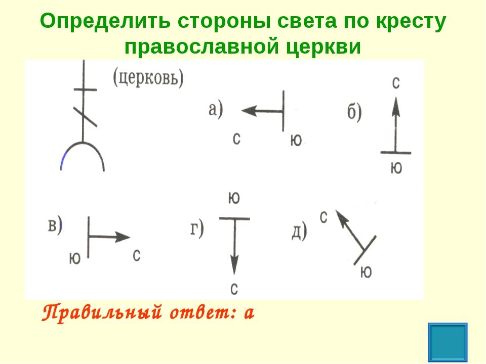Определить стороны света по кресту православной церкви Правильный ответ: а