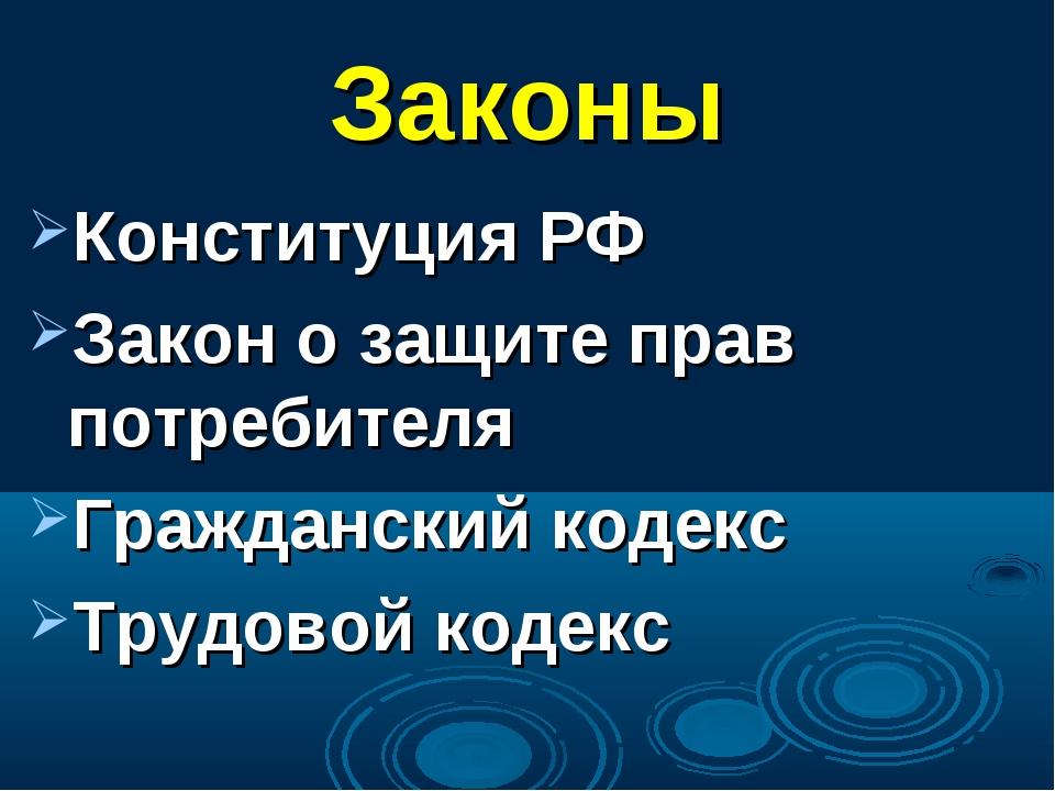 Законы Конституция РФ Закон о защите прав потребителя Гражданский кодекс Труд...
