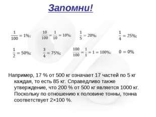 Запомни! Например, 17% от 500 кг означает 17 частей по 5 кг каждая, то есть