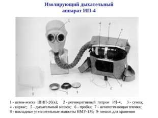 1 - шлем-маска ШИП-2б(к); 2 - регенеративный патрон РП-4; 3 - сумка; 4 - карк