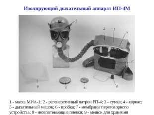 1 - маска МИА-1; 2 - регенеративный патрон РП-4; 3 - сумка; 4 - каркас; 5 - д