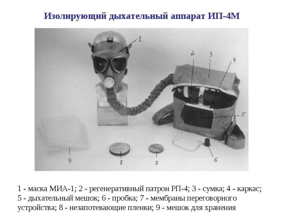 1 - маска МИА-1; 2 - регенеративный патрон РП-4; 3 - сумка; 4 - каркас; 5 - д...