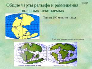 Общие черты рельефа и размещения полезных ископаемых Пангея 200 млн.лет назад