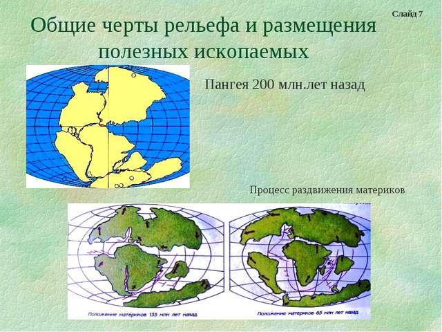 Общие черты рельефа и размещения полезных ископаемых Пангея 200 млн.лет назад...