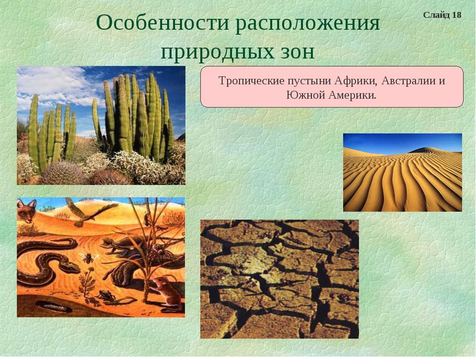 Особенности расположения природных зон Тропические пустыни Африки, Австралии...