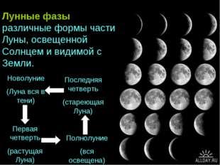 Новолуние (Луна вся в тени) Первая четверть (растущая Луна) Полнолуние (вся о