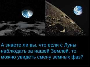 А знаете ли вы, что если с Луны наблюдать за нашей Землей, то можно увидеть с