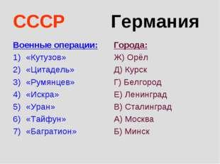 СССР Германия Военные операции: «Кутузов» «Цитадель» «Румянцев» «Искра» «Уран