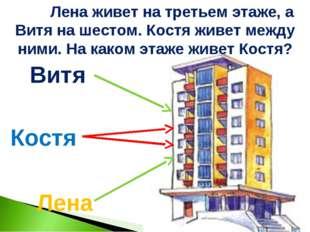 Лена Витя Костя Лена живет на третьем этаже, а Витя на шестом. Костя живет ме