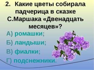 2.Какие цветы собирала падчерица в сказке С.Маршака «Двенадцать месяцев»? А)