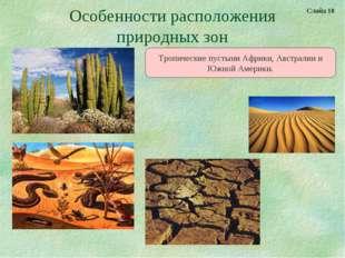 Особенности расположения природных зон Тропические пустыни Африки, Австралии