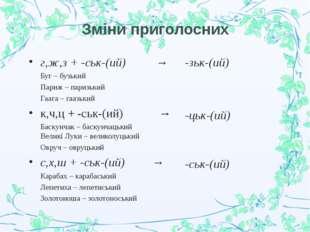 Зміни приголосних -зьк-(ий) -цьк-(ий) -ськ-(ий) г,ж,з + -ськ-(ий) → Буг – бу