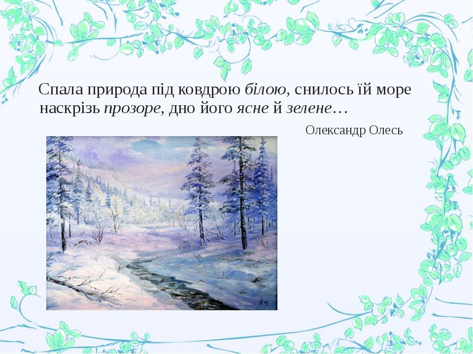 Спала природа під ковдрою білою, снилось їй море наскрізь прозоре, дно його...