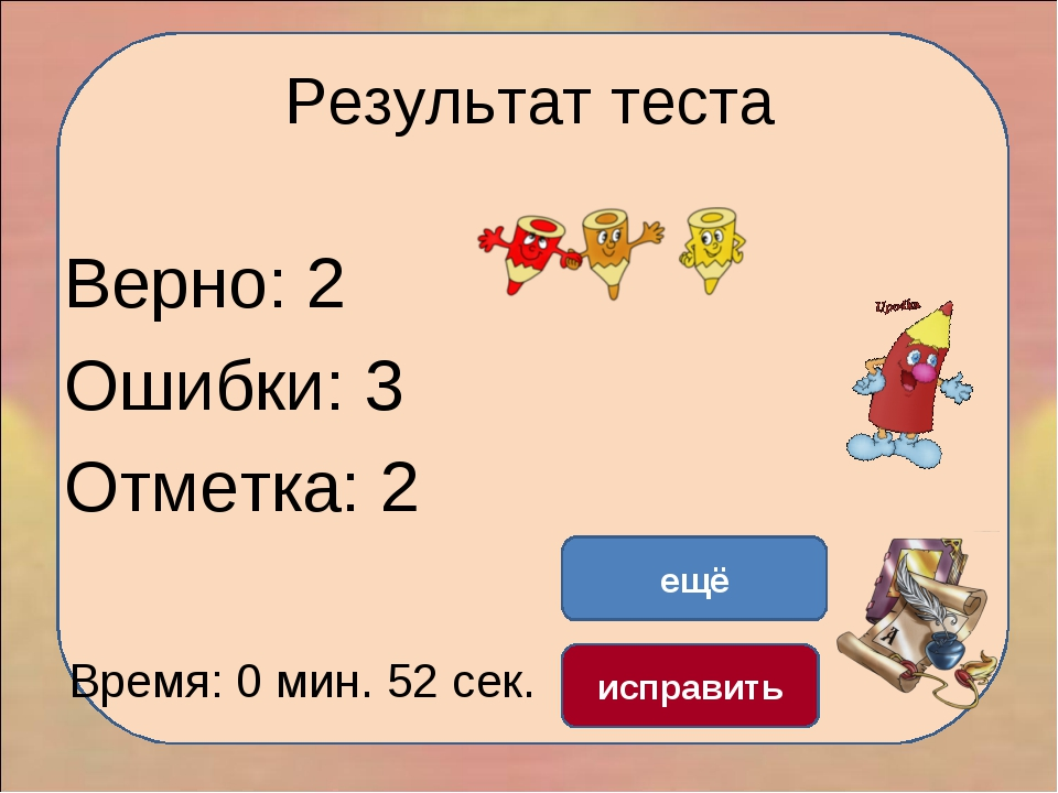 Результат теста Верно: 2 Ошибки: 3 Отметка: 2 Время: 0 мин. 52 сек. ещё испра...