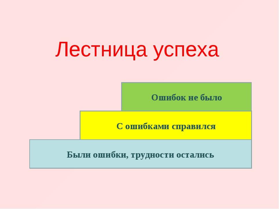 Лестница успеха Были ошибки, трудности остались С ошибками справился Ошибок н...