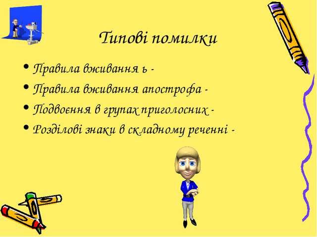 Типові помилки Правила вживання ь - Правила вживання апострофа - Подвоєння в...