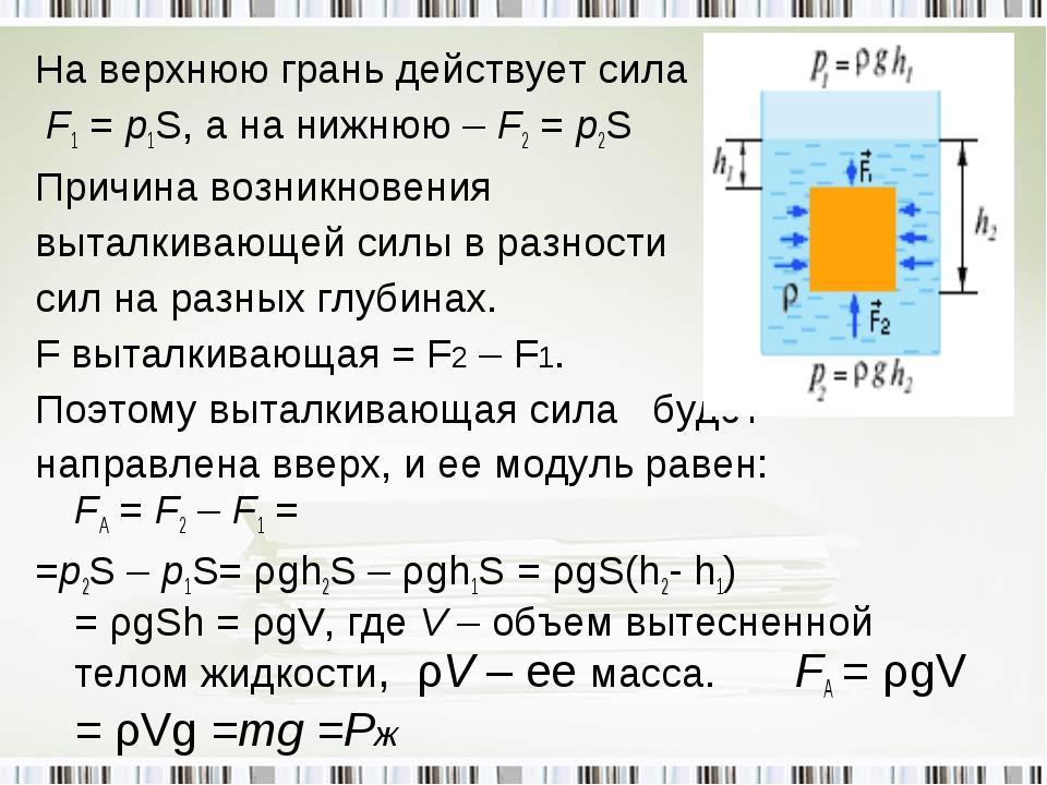 На верхнюю грань действует сила F1 = p1S, а на нижнюю – F2 = p2S Причина возн...