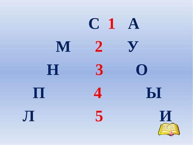 С 1 А М 2 У Н 3 О П 4 Ы Л 5 И
