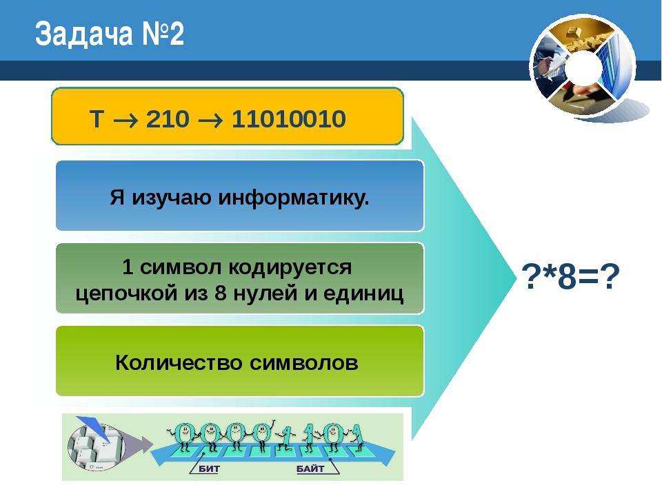 Задача №2 Я изучаю информатику. 1 символ кодируется цепочкой из 8 нулей и еди...