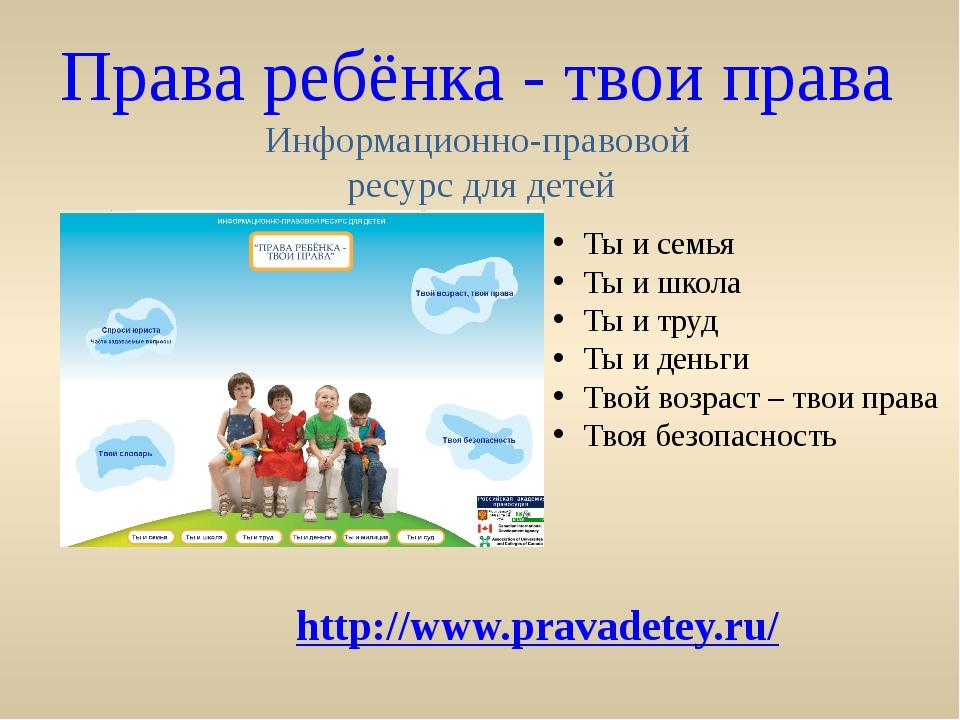 Права ребёнка - твои права Информационно-правовой ресурс для детей http://www...