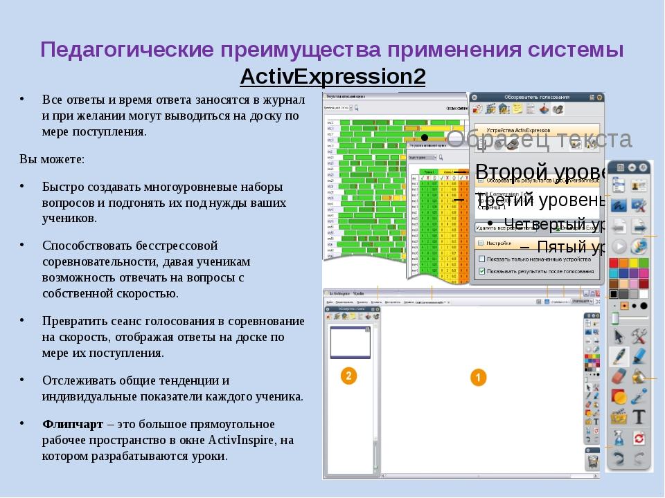 Педагогические преимущества применения системы ActivExpression2 Все ответы и...