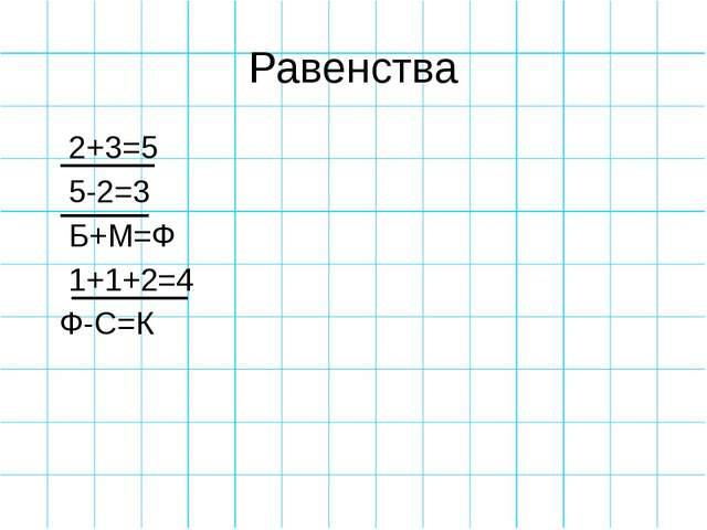 Равенства 2+3=5 5-2=3 Б+М=Ф 1+1+2=4 Ф-С=К