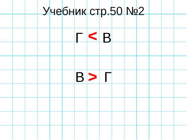 Учебник стр.50 №2 Г В В Г < >