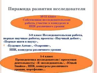Пирамида развития исследователя 1-4 класс Пропедевтика исследователя ( проект