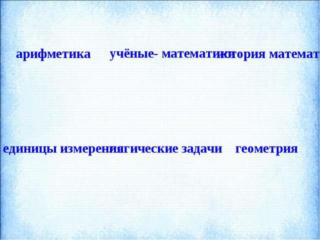 арифметика  учёные- математики история математики единицы измерения логич...