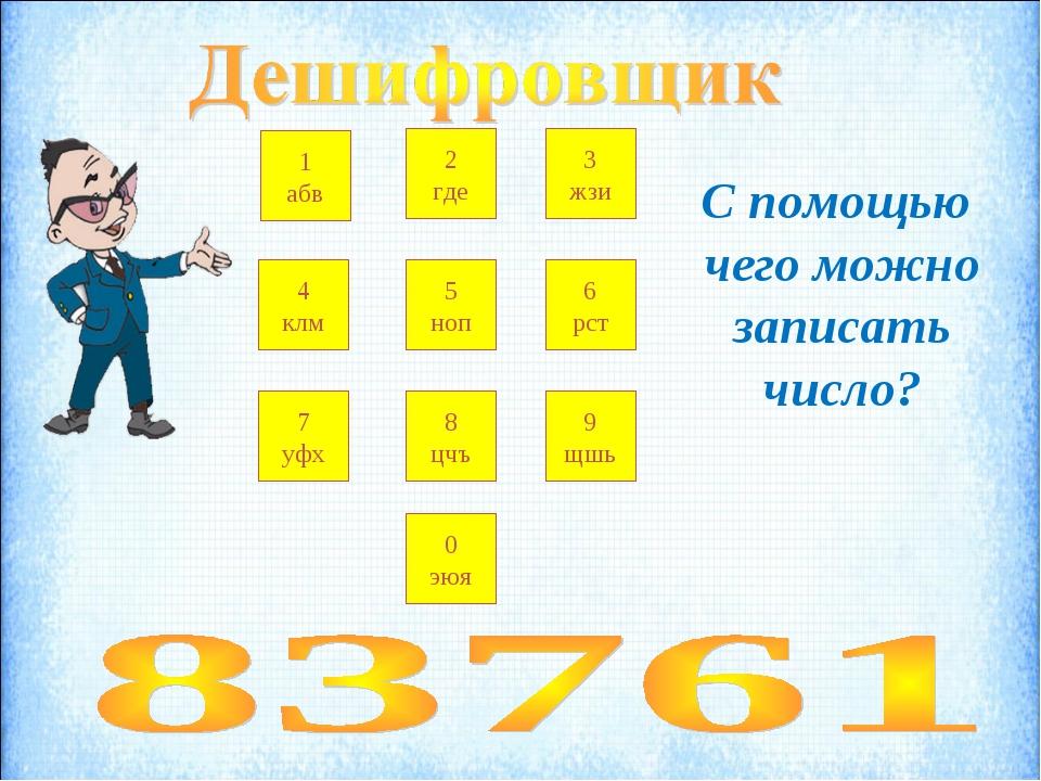 2 где 7 уфх 1 абв 3 жзи 4 клм 5 ноп 6 рст 8 цчъ 9 щшь 0 эюя С помощью чего мо...