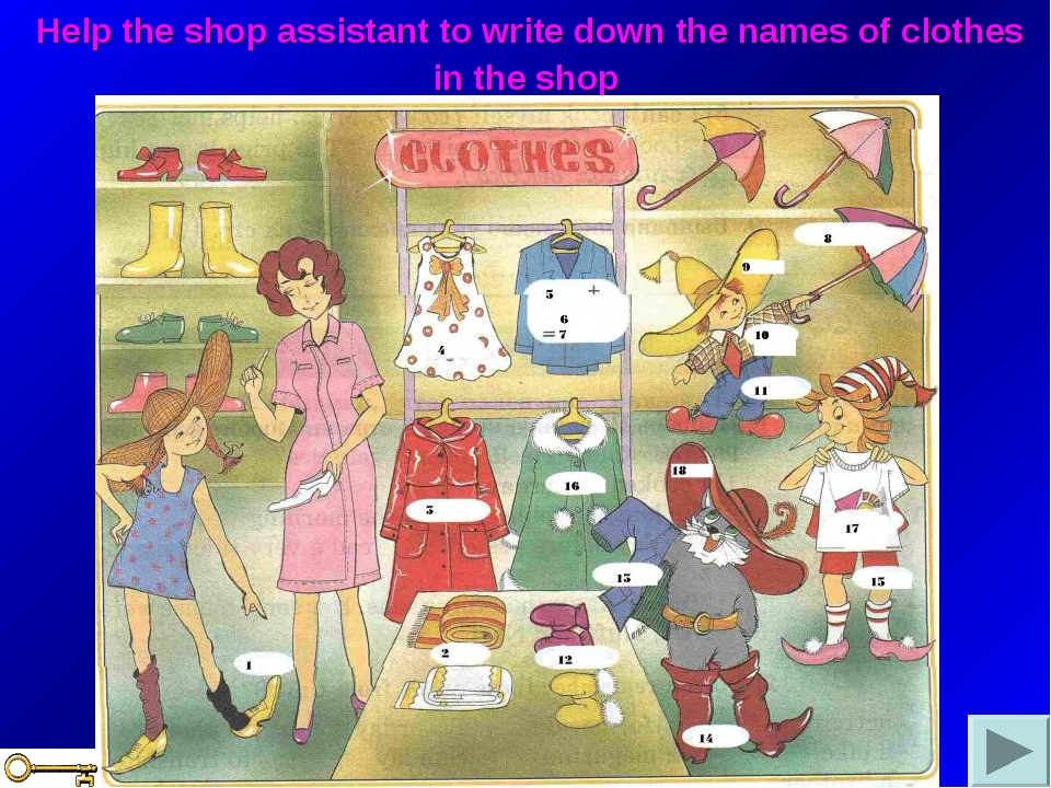 Help the shop assistant to write down the names of clothes in the shop