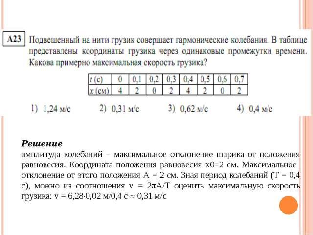 Решение амплитуда колебаний – максимальное отклонение шарика от положения ра...