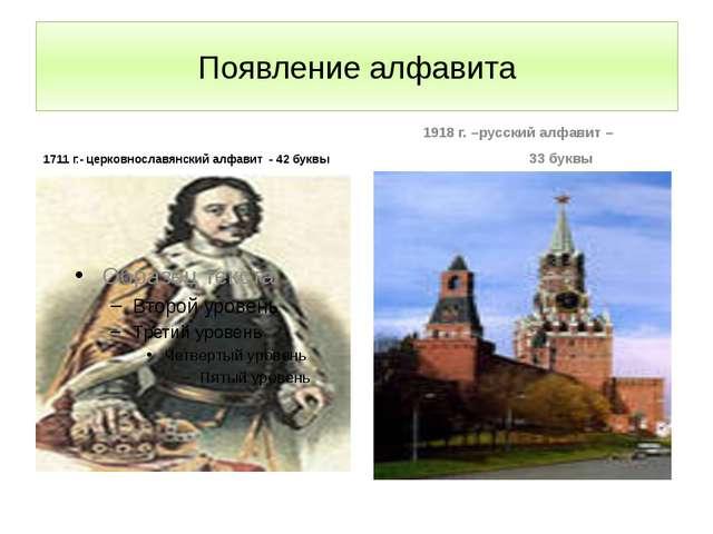 Появление алфавита 1711 г.- церковнославянский алфавит - 42 буквы 1918 г. –ру...