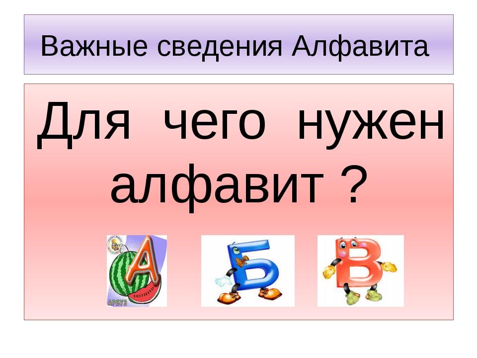 Важные сведения Алфавита Для чего нужен алфавит ?