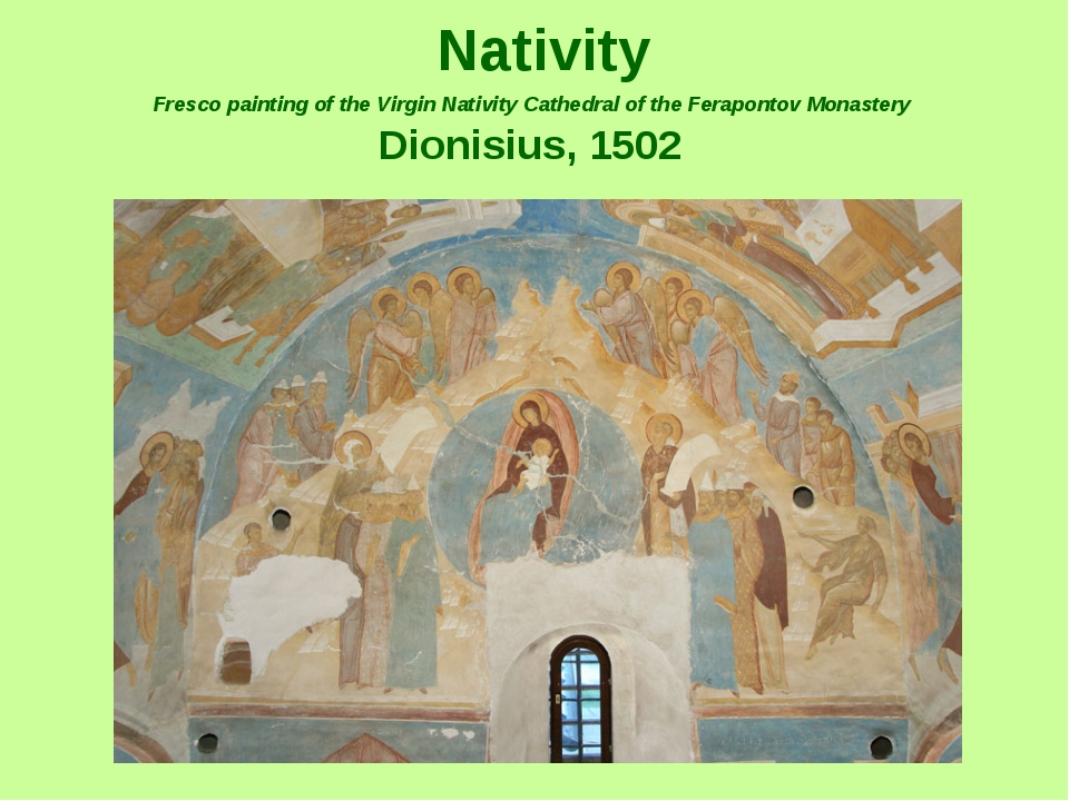 Nativity Fresco painting of the Virgin Nativity Cathedral of the Ferapontov...