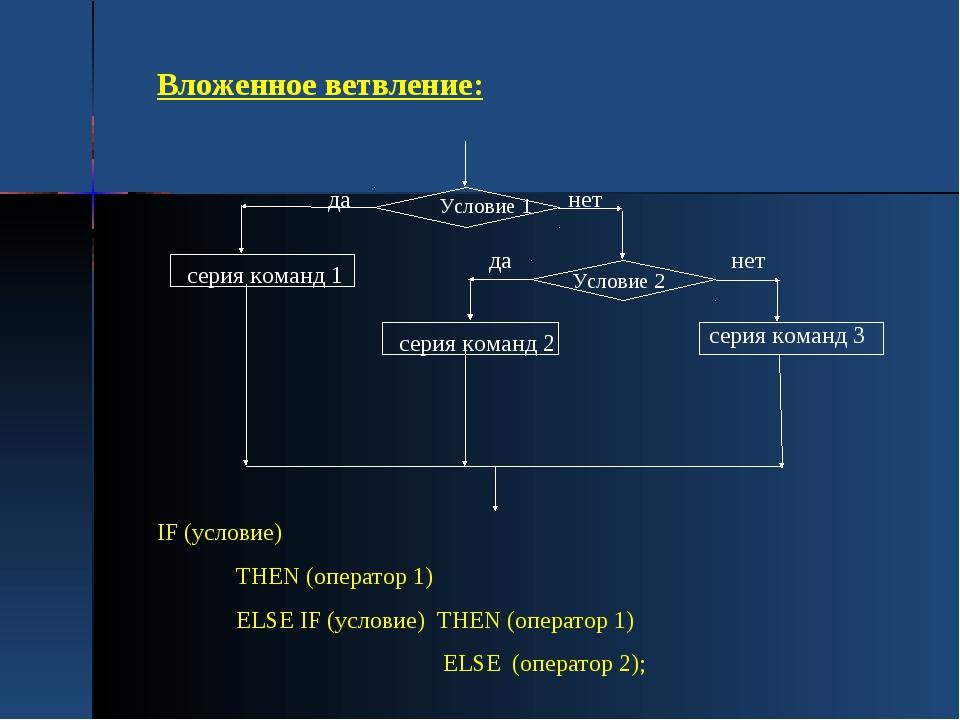 Вложенное ветвление: IF (условие) THEN (оператор 1) ELSE IF (условие) THEN (о...