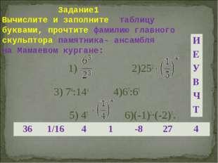 Задание1 Вычислите и заполните таблицу буквами, прочтите фамилию главного ск