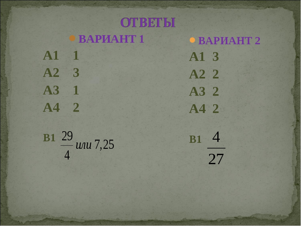 ВАРИАНТ 1 А1 1 А2 3 А3 1 А4 2 В1 ВАРИАНТ 2 А1 3 А2 2 А3 2 А4 2 В1