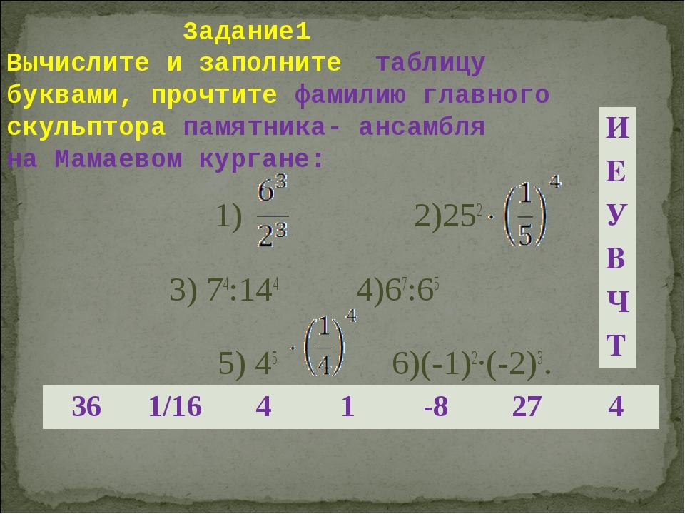 Задание1 Вычислите и заполните таблицу буквами, прочтите фамилию главного ск...