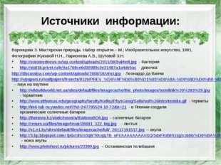 Источники информации: Воронцова З. Мастерская природы. Набор открыток.– М.: И