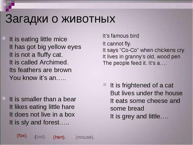 Загадки о животных It is eating little mice It has got big yellow eyes It is...