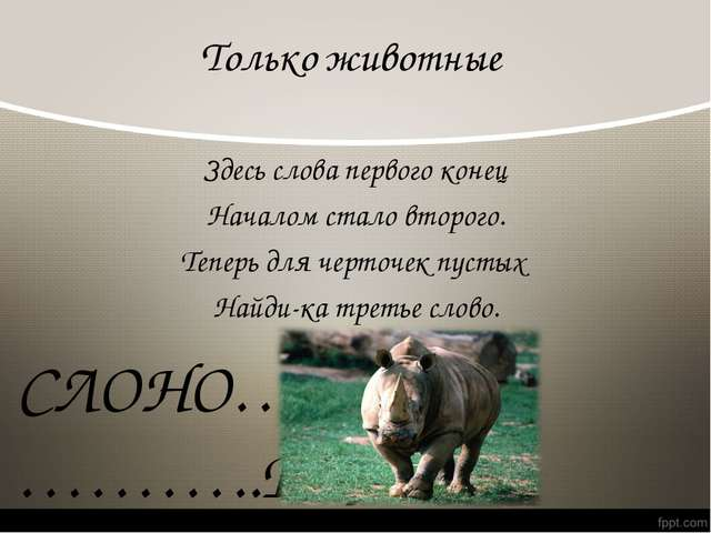 Только животные Здесь слова первого конец Началом стало второго. Теперь для ч...