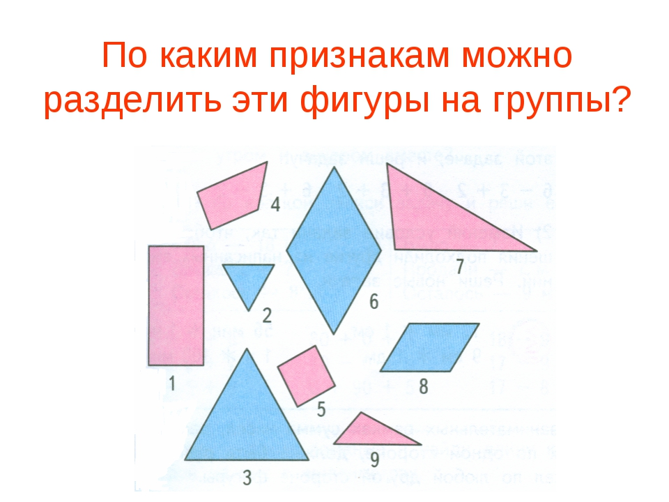 По каким признакам можно разделить эти фигуры на группы?