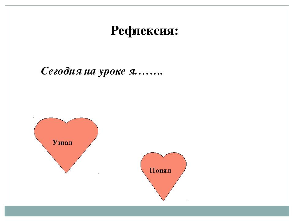 Рефлексия: Сегодня на уроке я…….. Узнал Понял