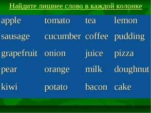 Найдите лишнее слово в каждой колонке appletomatotealemon sausagecucumber